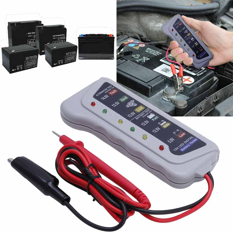 High Quality 12V Digital Battery Alternator Tester 6 LED Display Indicator  for Car Motorcycle Repair Diagnostic Tools