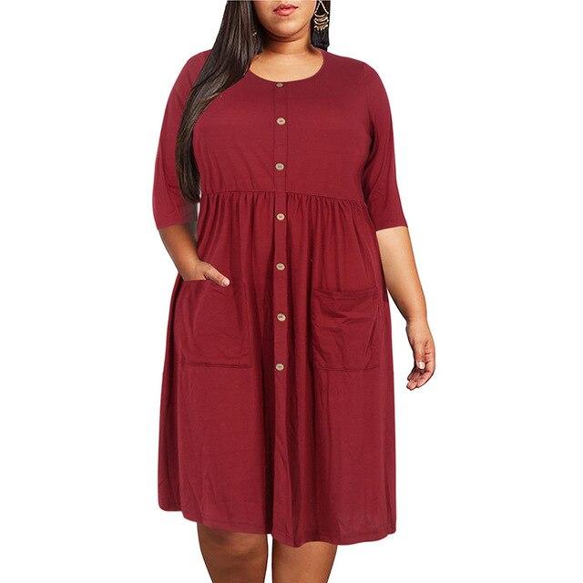 Big size 9XL dress for Fat MM 2019 Women Dress Loose pocket design solid plus size dresses women clothing party dress vestidos 3