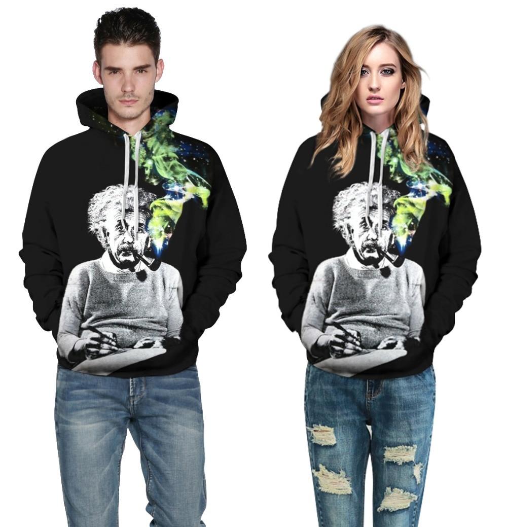 Einstein Smoking Hoodie Black 3D Space Galaxy Print Hooded Men Women Fashion Hip Hop Streetwear Hoody Funny Casual Sweatshirts