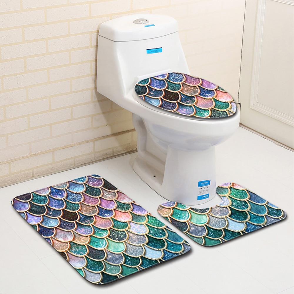 3pcs Fish Scale Print Toilet Mat Three Piece Suit