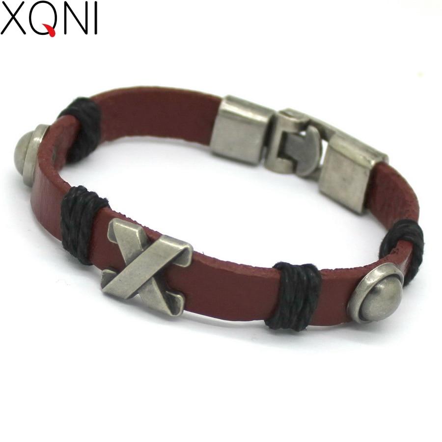 2017 New Fashion Retro Novel Leather Bracelet For Men Trendy X Word Style Vintage Brand Friendship Bracelets.
