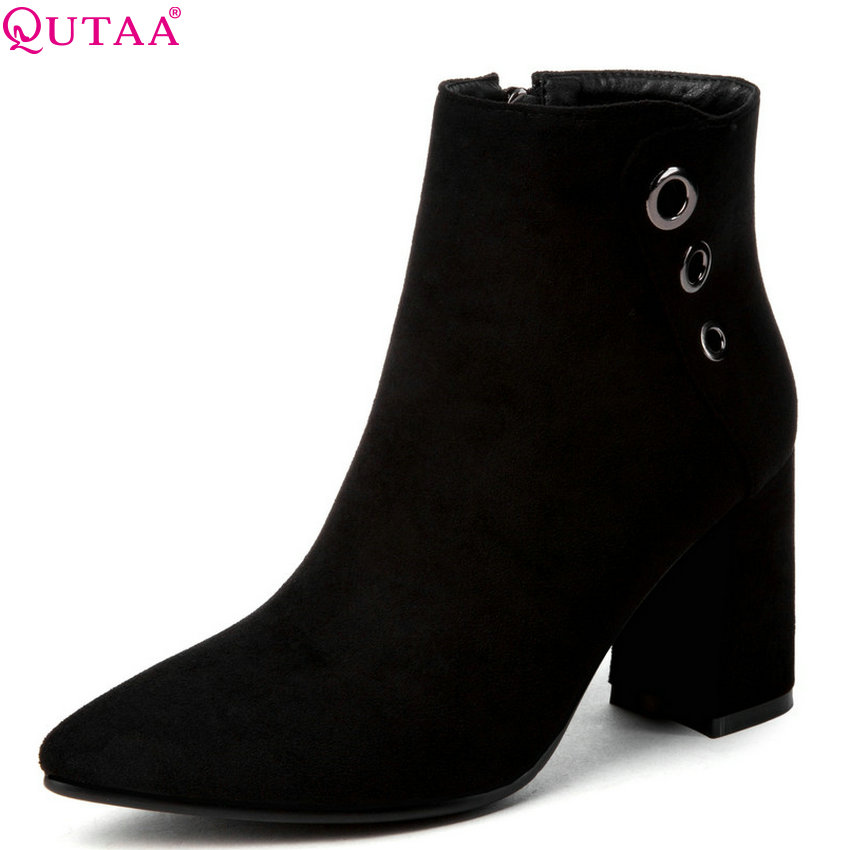QUTAA 2019 Women Ankle Boots Flock /pu Leather Fashion Black Winter Boots Women Shoes Women Motorcycle Boots Big Size 34-43QUTAA 2019 Women Ankle Boots Flock /pu Leather Fashion Black Winter Boots Women Shoes Women Motorcycle Boots Big Size 34-43