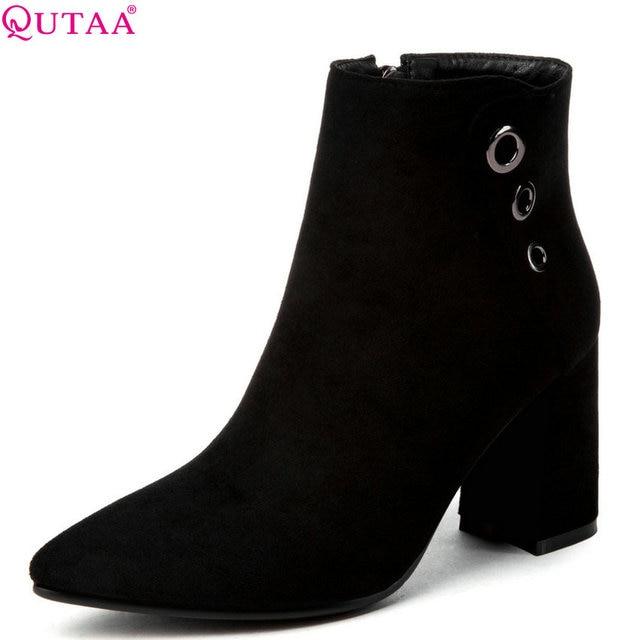 QUTAA 2020 נשים קרסול מגפי צאן/עור מפוצל אופנה שחור חורף נשים אופנוע מגפי גודל גדול 34 43