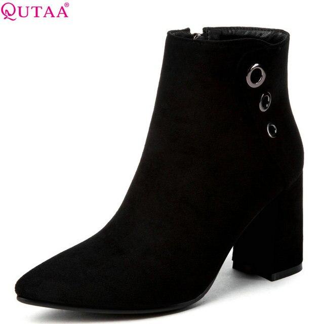 Qutaa 2020女性のアンクルブーツフロック/puレザーファッション黒冬の女性のオートバイのブーツビッグサイズ34 43