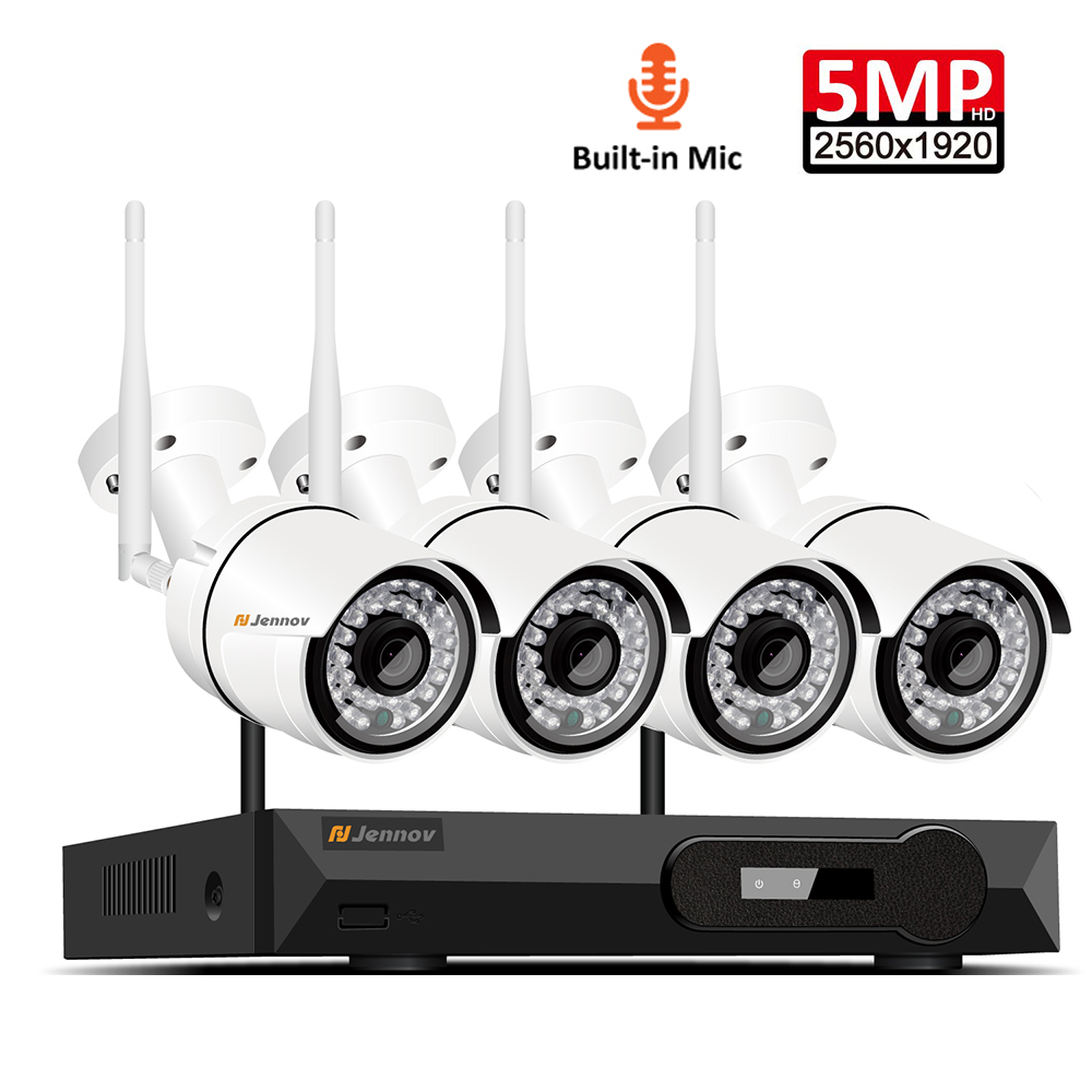 4CH Audio Record 5MP H 265 HD Home Wifi Wireless CCTV Camera System NVR Set Video