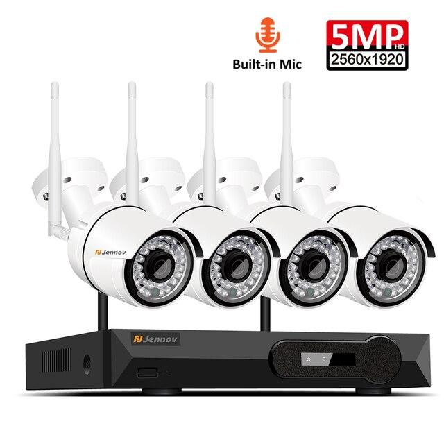 4CH אודיו שיא 5MP H.265 HD בית Wifi אלחוטי טלוויזיה במעגל סגור מצלמה מערכת NVR סט ערכת מעקב וידאו IP מקורה אבטחה מצלמה