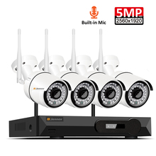 4CH Audio Record 5MP H.265 HD Home Wifi Wireless CCTV Camera System NVR Set Video Surveillance Kit IP Indoor Security Camera