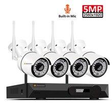 4CH registro de Audio 5MP H.265 HD Wifi en casa CCTV inalámbrico sistema de cámara conjunto NVR Kit de videovigilancia IP cámara de seguridad de interior