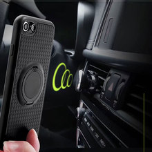 Silincone coque case for iPhone 7 6 6s 5 5s 8 se Soft TPU Matte case cover with Luxury Carbon Fiber PC Magnet Suction stand