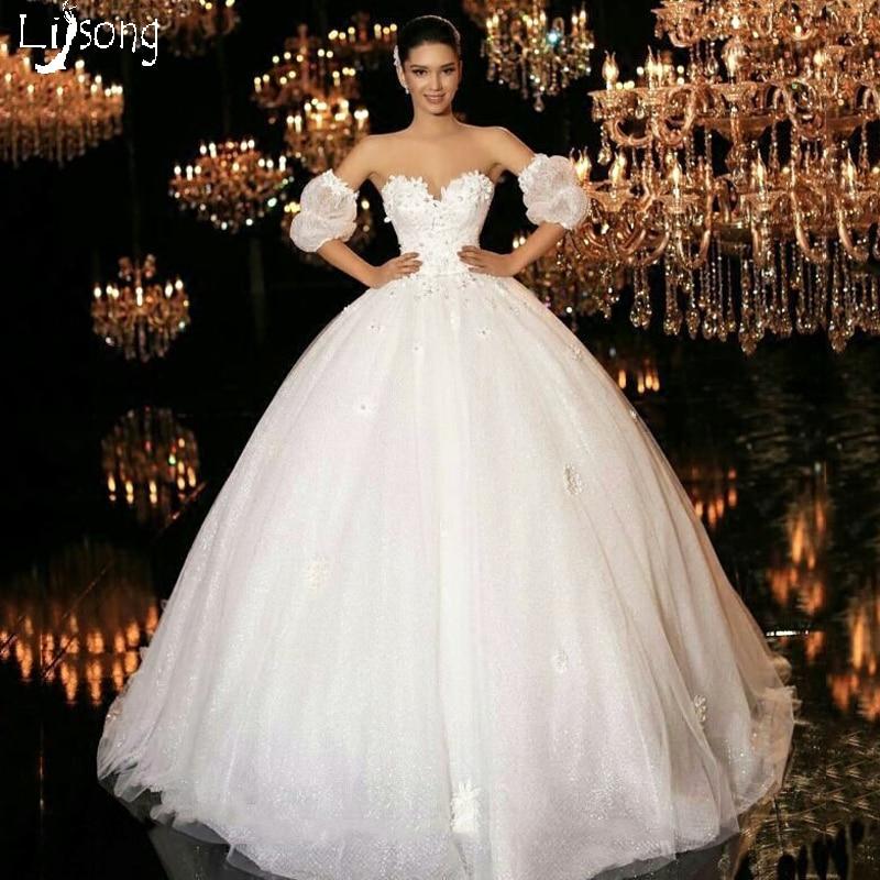 Romantic Princess Style Flowers Appliques White Wedding Dress Custom ...