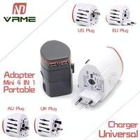 Vrme Portátil Adaptador USB Charger EUA REINO UNIDO AU Plug UE 4 em 1 de Alimentação AC Universal Adaptador de Viagem Plugue Conversor Tomada Elétrica