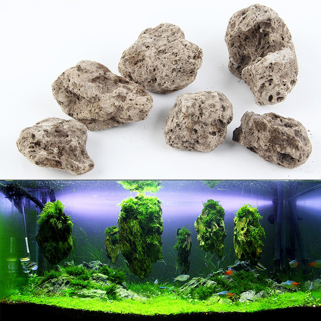 3pcs Lot Avatar Floating Real Rocks Aquarium Water Plant Fish Tank Aquatic Landscape Moss