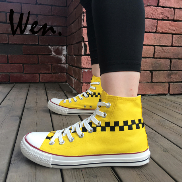 d5caa75964e Wen Design Original Hand Painted Custom Shoes Black And Yellow Plaids Taxi  Color Pattern High Top