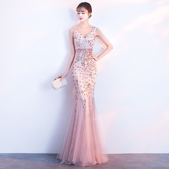 Gold Sequins Long Host Dress Female Singer Sexy Leotard One Piece Dresses Prom Formal Star Party Celebration Performance Costume