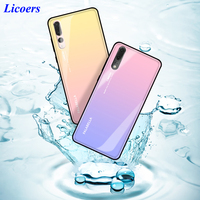 Aurora Tempered Glass Cases For Huawei P20 P20 Pro Case Luxury Colorful Glossy Back Cover For