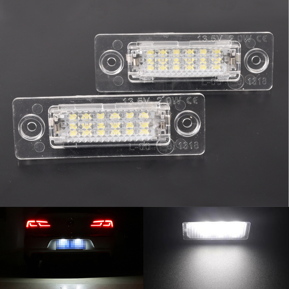 2Pcs Car LED License Plate <font><b>Lights</b></font> For <font><b>VW</b></font> Passat For Caddy <font><b>MK3</b></font> <font><b>Golf</b></font> Piug Jetta MK5 For Touran Transpiarter T5 image