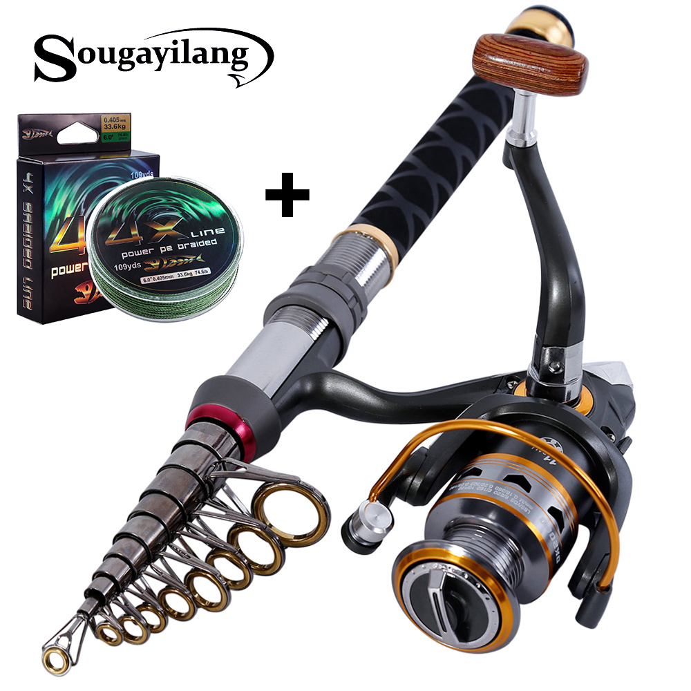 Sougayilang Stick Fishing Rod de Carbon Fiber Fishing Rod for Fish Olta Spinning Telescopic Mini Fishing