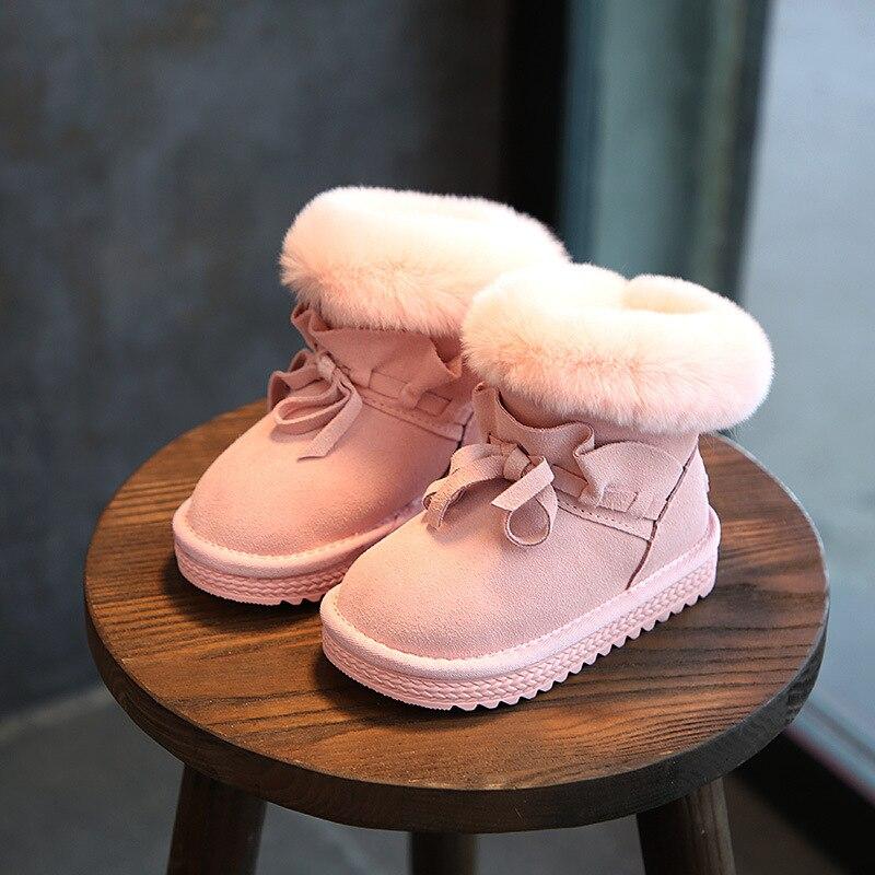 MAGGIE'S WALKER Children Snow Boots Genuine Leathenr Baby Girls Boys Fashion Snow Boots Student Rabbit Fur Ankle Short Boots стиральная машина lg f1296nd3 белый