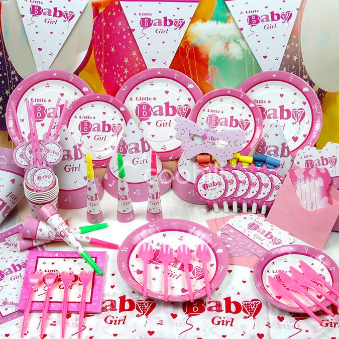 90pcs Set Pink Baby Girl Birthday Party Decorations Event Supplies Favor Items Children Kids Theme