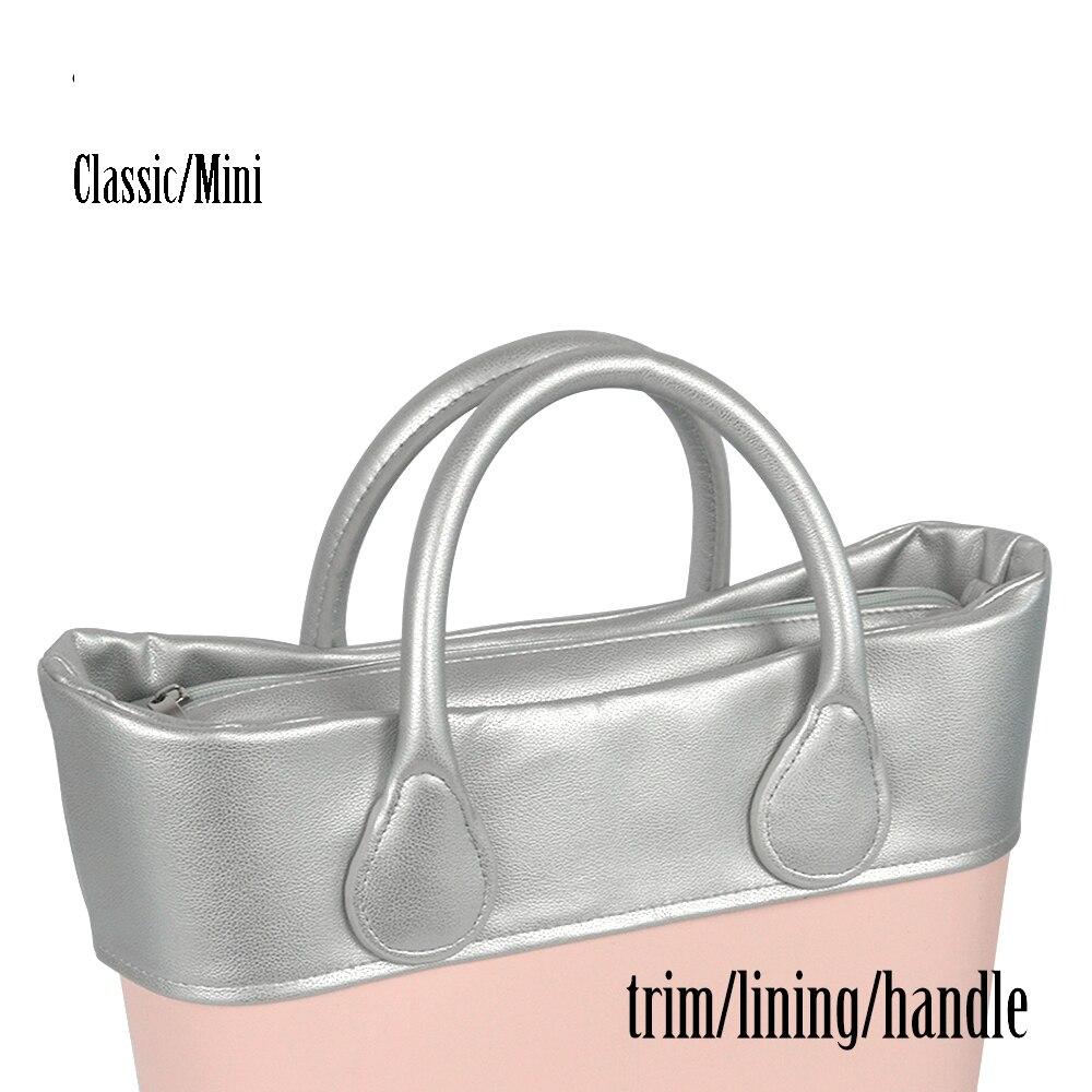 New Litchi Pattern Faux Leather Handle Insert Inner Pocket Lining Trim For Obag Classic Mini O Bag Women's Bag Handbag