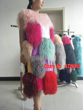 2017 new fashion lamb hair vest long Mongolia Sheep Fur coat ladies warm beach wool real fur  dress