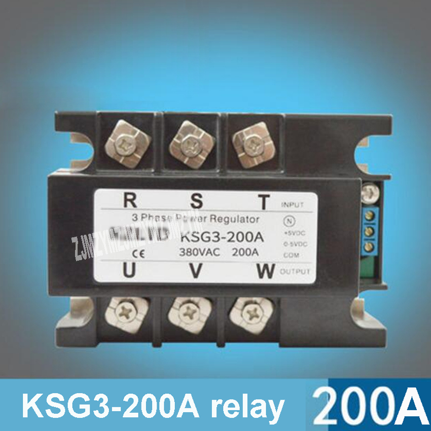цена на KSG3-200A Three-phase Solid State Relay Voltage Regulator Module 200A 4-20mA 0-5V to 380V AC Solid State Relay Power Regulator