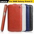 Case para samsung galaxy grand 2 duos cuero del teléfono imuca flip protective case para samsung galaxy grand 2 duos g7106 g7108 g7102
