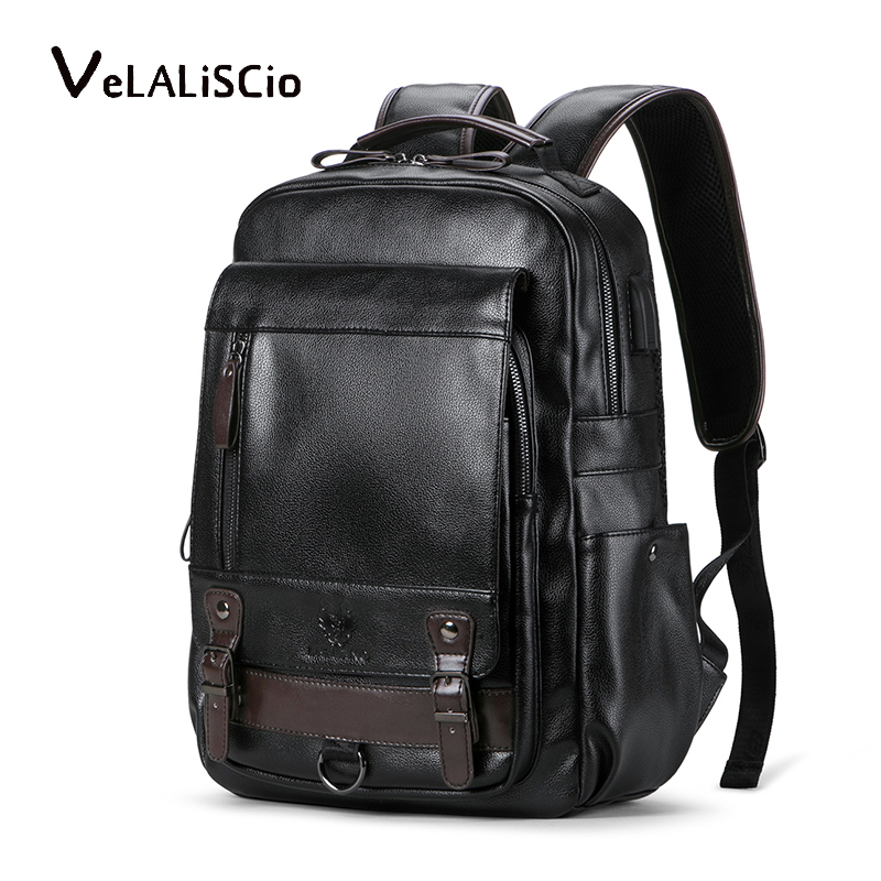 Sac à dos en cuir pour hommes sac à dos de voyage pour ordinateur portable 15 pouces sac à dos pour ordinateur portable USB collège Bookbag hommes mochila hombre