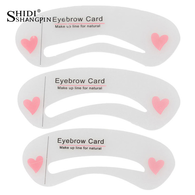 SHIDISHANGPIN 3Pcs Eyebrow Stencils Eye Brow DIY Drawing Guide Styling Shaping Grooming Template Card Makeup Tool