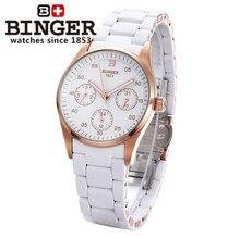 2016 Новый Бренд Бингер Часы Женева Розового Золота Часы Девушки женщин Кварцевые Наручные Часы Три Глаза Календарь 24 Часов часы