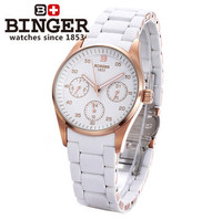 2017 New Brand Binger Watches Geneva Rose Gold Watches Girl Women's Quartz Wristwatch Three Eyes Date Calendar 24 Hours Watch