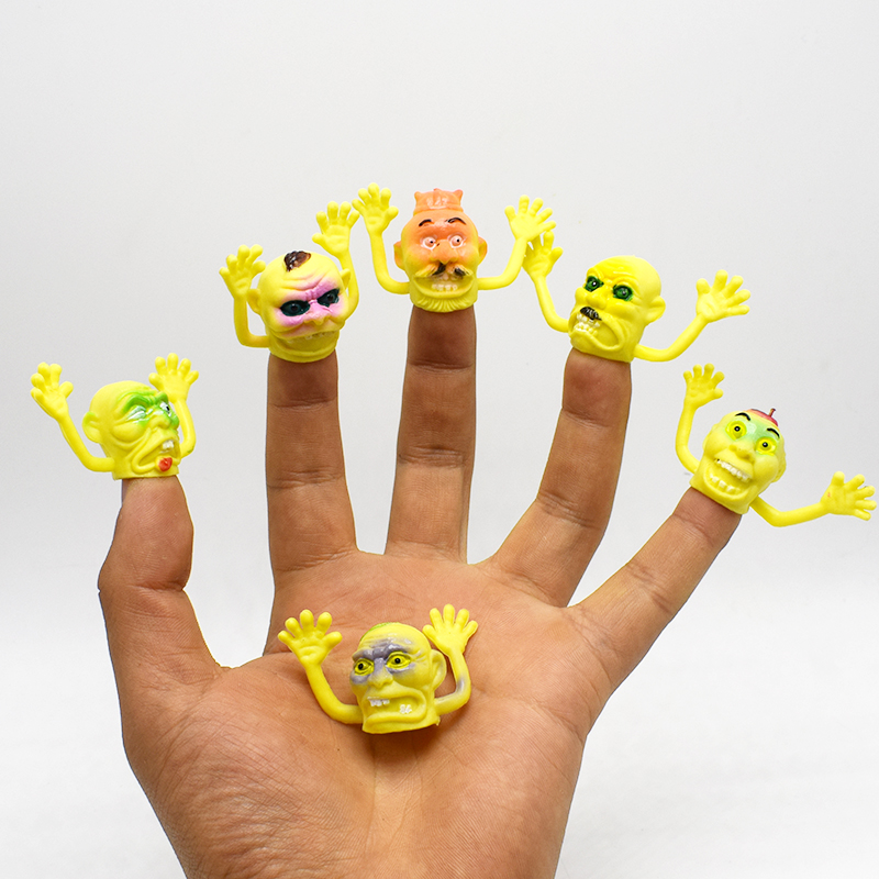 6Pcs/lot Novelty PVC yellow Old man Finger Puppet For Telling Stories Halloween Funny Toy Action Figure