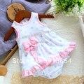 Новый 2017 лето детская одежда Детские криперс боди новорожденный треугольник боди платье девочка точка рукавов жилет платье