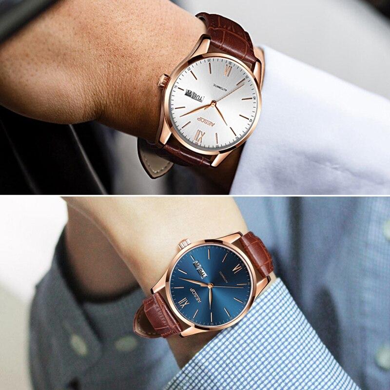 AESOP mince affaires hommes montres haut marque de luxe mince noir heures bleu visage mâle horloge en cuir Relogio Masculino - 5