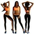 2016 2 Peça Set Mulheres Terno para Fitness Skinny Top Legging Fêmea Roupa de Treino Roupas Roupas de Trabalho De Roupa dos Impostos Especiais de consumo
