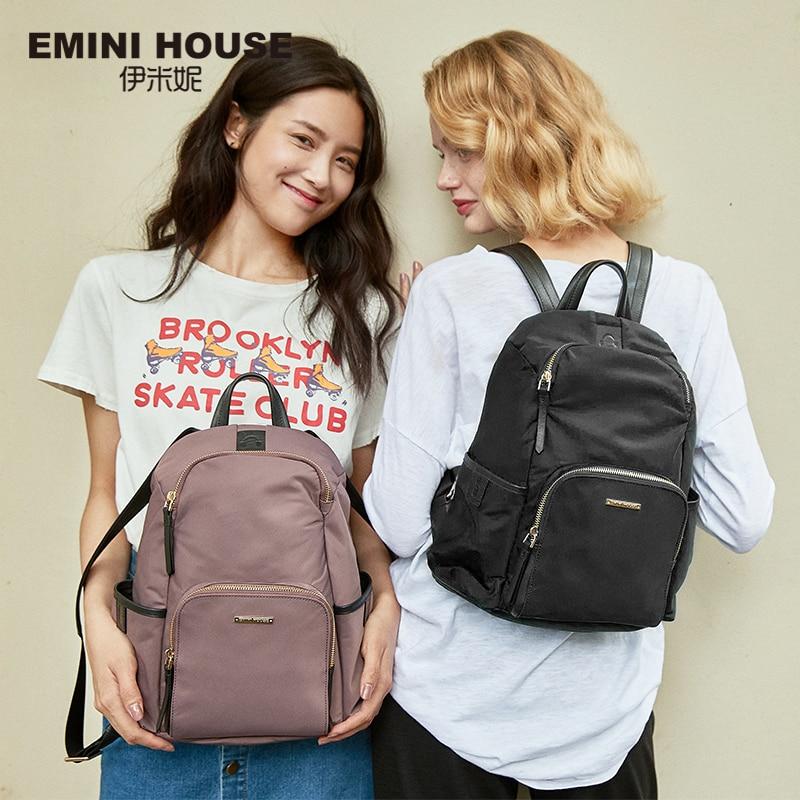EMINI maison Anti-vol sacs à dos pour femmes voyage étanche en Nylon sac à dos femme fermeture à glissière conception sac d'école sac à dos