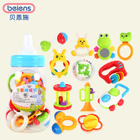 Beiens Brand Toys 12pcs Lovely Plastic Newborn Baby Toys Hand Shake Bell Ring Rattles Toys Baby