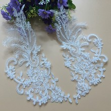 2Pcs Floral Corded Wedding Motif Bridal Wedding Decoration Neckline Neck Collar Lace Applique Trim T76 цена