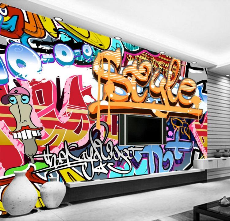 Walltastic Graffiti Wallpaper Mural: Free Shipping 3D European Style Graffiti Wallpaper Mural