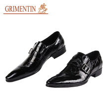 GRIMENTIN Brand Size 6-11 Italian designer men loafers patent leather pointed toe luxury mens dress shoes flats for wedding OX17(China (Mainland))