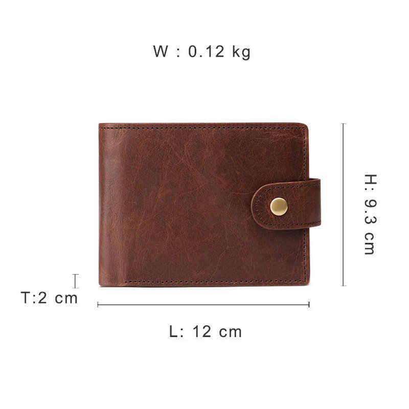 Genodern Baru Kedatangan Vintage RFID Pria Dompet Pengait Fungsional Lipat Tiga Dompet untuk Pria Kapasitas Besar Pria Dompet