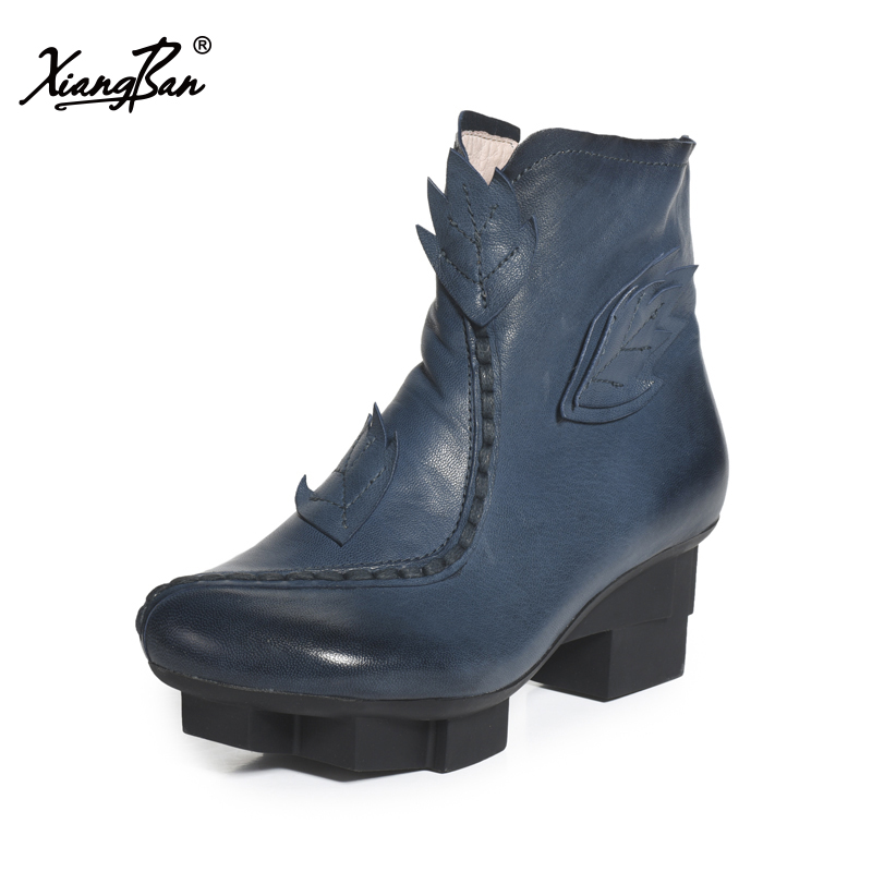 Xiangban Handmade Vintage Motorcycle Boots Women High Heels Platform Boots Square Heel Genuine Leather