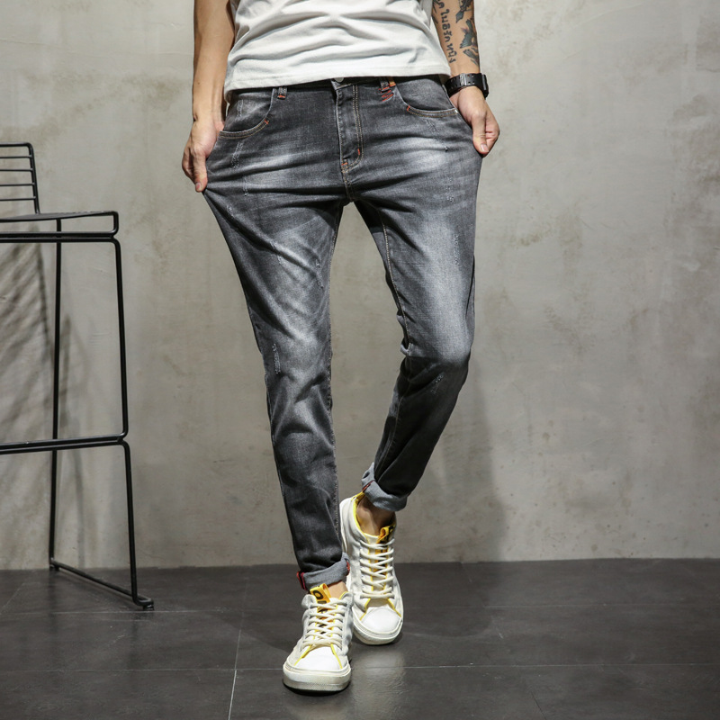 2018 spring push simple wild fashion mens elastic stretch trousers youth jeans