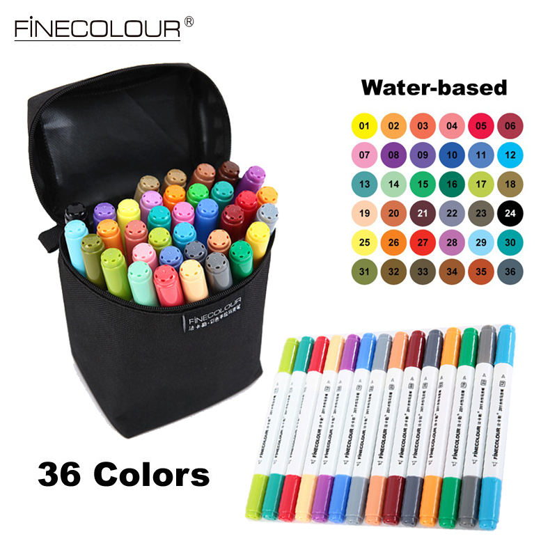Finecolour 36 Color /set Art and Graphic Drawing Manga Water Based Ink Dual Head Fabric Marker Pen Sketch Copic Markers