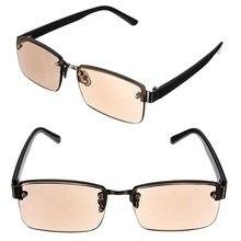 Moda leitura óculos de sol marrom unissex multi-função cristal metade rimed escritório óculos para mulher