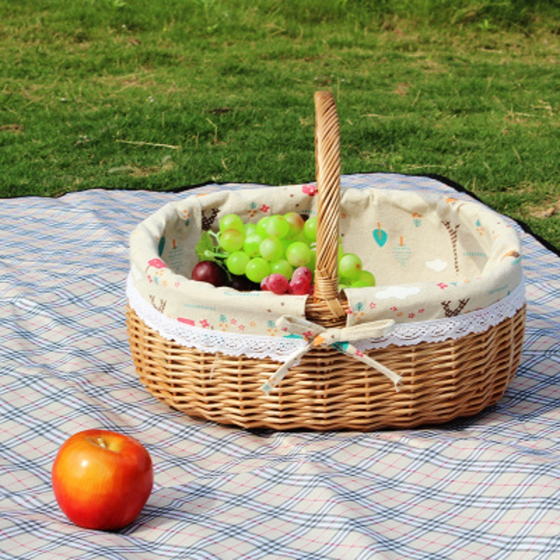 Wicker Picnic Basket Handmade Storage Baskets Wooden Color Woven Straw Rattan Fruits Basket For Gardening Shopping Basket
