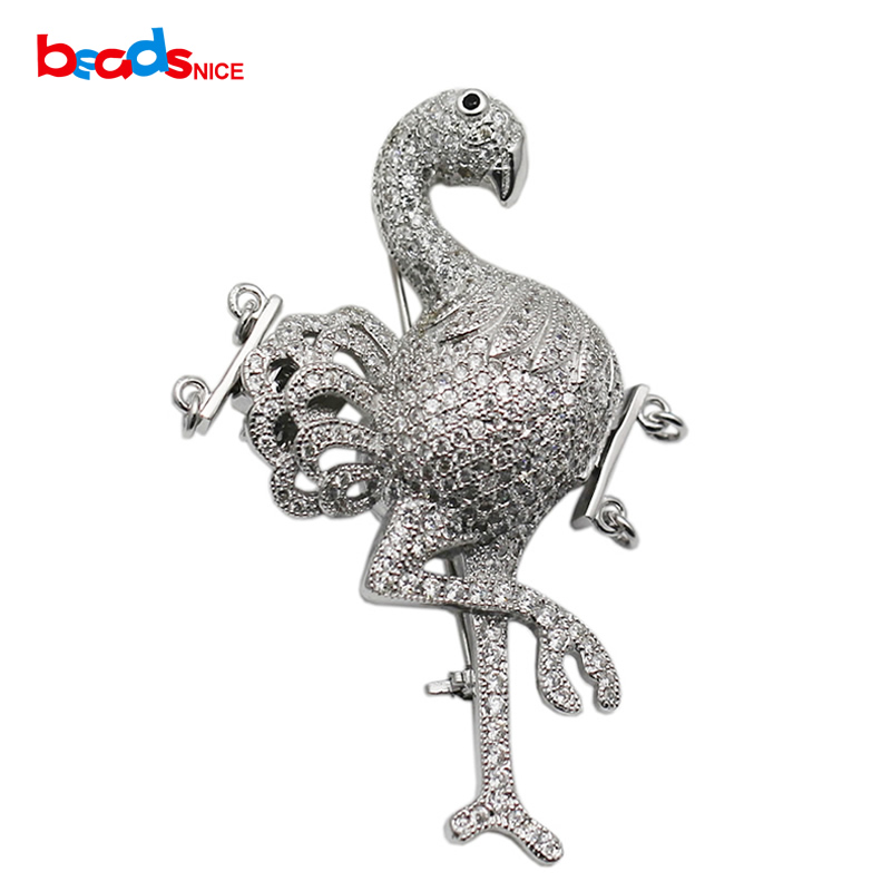 Beadsnice 925 Sterling Argent Animaux Conclusions CZ Pave Fermoir Broche Multi Strand Collier Faisant Accessoires ID 35291
