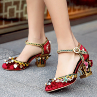 Роскошные клетке цветы украшенные Velevt туфли лодочки ручной работы со стразами золотой вышивкой Свадебная обувь бренд блочном каблуке Свад