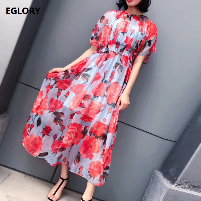 Fast Deliver 2018 Summer Cotton Dress Bohemian Sweet Floral Printed Lolita Casual Mid-calf O-neck Sleeveless Women Ladies Long Dresses Women's Clothing