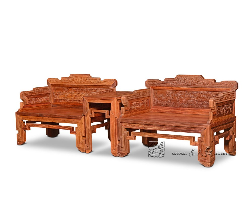 Redwood Furniture Set 2 King Throne and 1 Small Tea table Solid Wood Living Room Backed Armchair Chairs Coffee Desk Set Rosewood classical rosewood armchair backed china retro antique chair with handrails solid wood living dining room furniture factory set